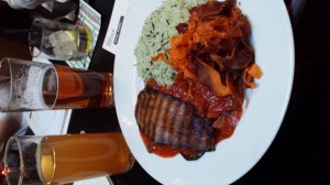 The first nights dinner... ratatouille with shaved sweet potatoes and herb rice. Which was accompanied with two large glasses of beer, one IPA and another Cider.