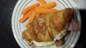 M&S croissant (freshly baked), ham (that my favorite deli lady cut for me right off the bone),  and a free range egg... uhm. yes. so much yes. I had this for lunch one day last week.